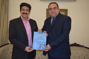 "SAndeep Marwah of ICMEI with Charge d"" Affaires H.E.Radu Actavian Dobre"