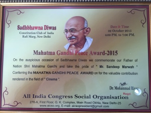 Mahatma Gandhi Peace Award to Sandeep Marwah